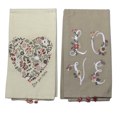 """Tabletop 26.0"""" Valentines Dish Towel Heart Love Flowers Primitives By Kathy  -  Kitchen Towel"""