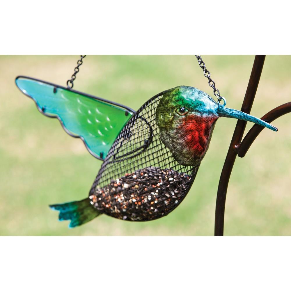 "Image of ""3.44"""" H Glass Bird Feeder - Evergreen"""