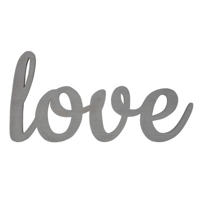 Large Script 'Love' Wood Cute Out Word Wall Decor Gray - Patton Wall Decor