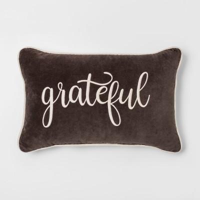 Grateful' Velvet Lumbar Throw Pillow Brown - Threshold™