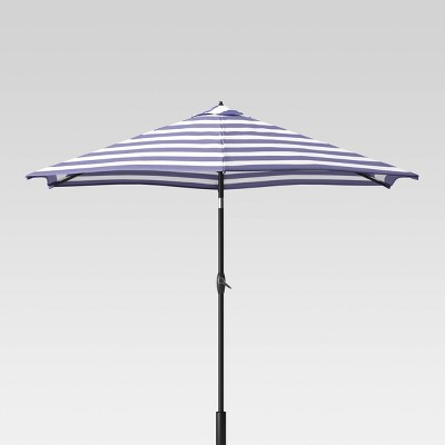 9' Round Cabana Stripe Patio Umbrella DuraSeason Fabric™ Navy - Light Wood Pole - Threshold™
