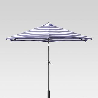 9' Round Cabana Stripe Patio Umbrella Navy - Light Wood Pole - Threshold™