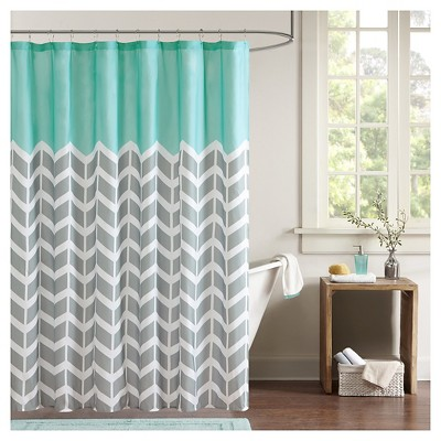Darcy 100% Microfiber Printed Shower Curtain - Teal