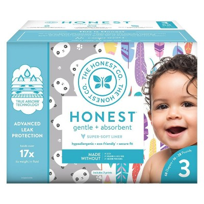 Honest Company Disposable Diapers Pandas & Painted Feathers - Size 3 (68ct)