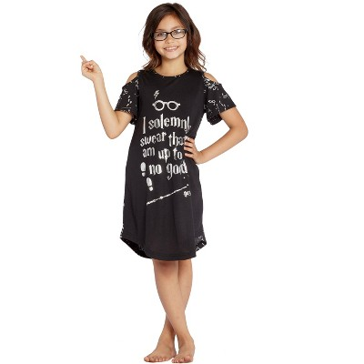 Intimo Big Girls' Harry Potter I Solemnly Swear Shoulder Cut Out Nightgown