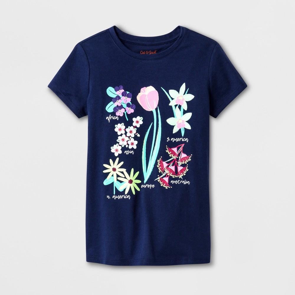 Girls' Short Sleeve Flowers Graphic T-Shirt - Cat & Jack Navy XL, Blue