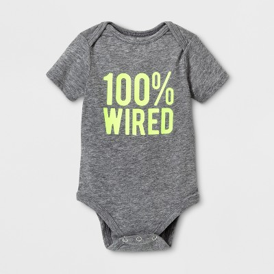 Baby Short Sleeve 100% Wired Graphic Jumpsuit - Cat & Jack™ Gray 12 M