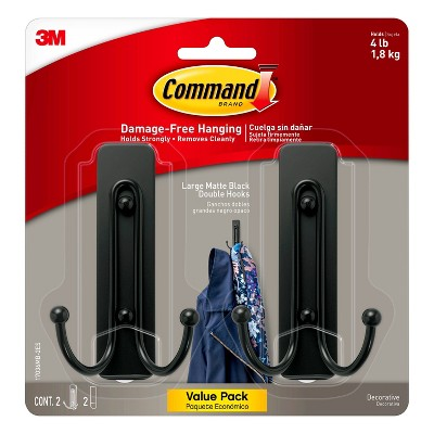 Command Double Hooks 2pk Black