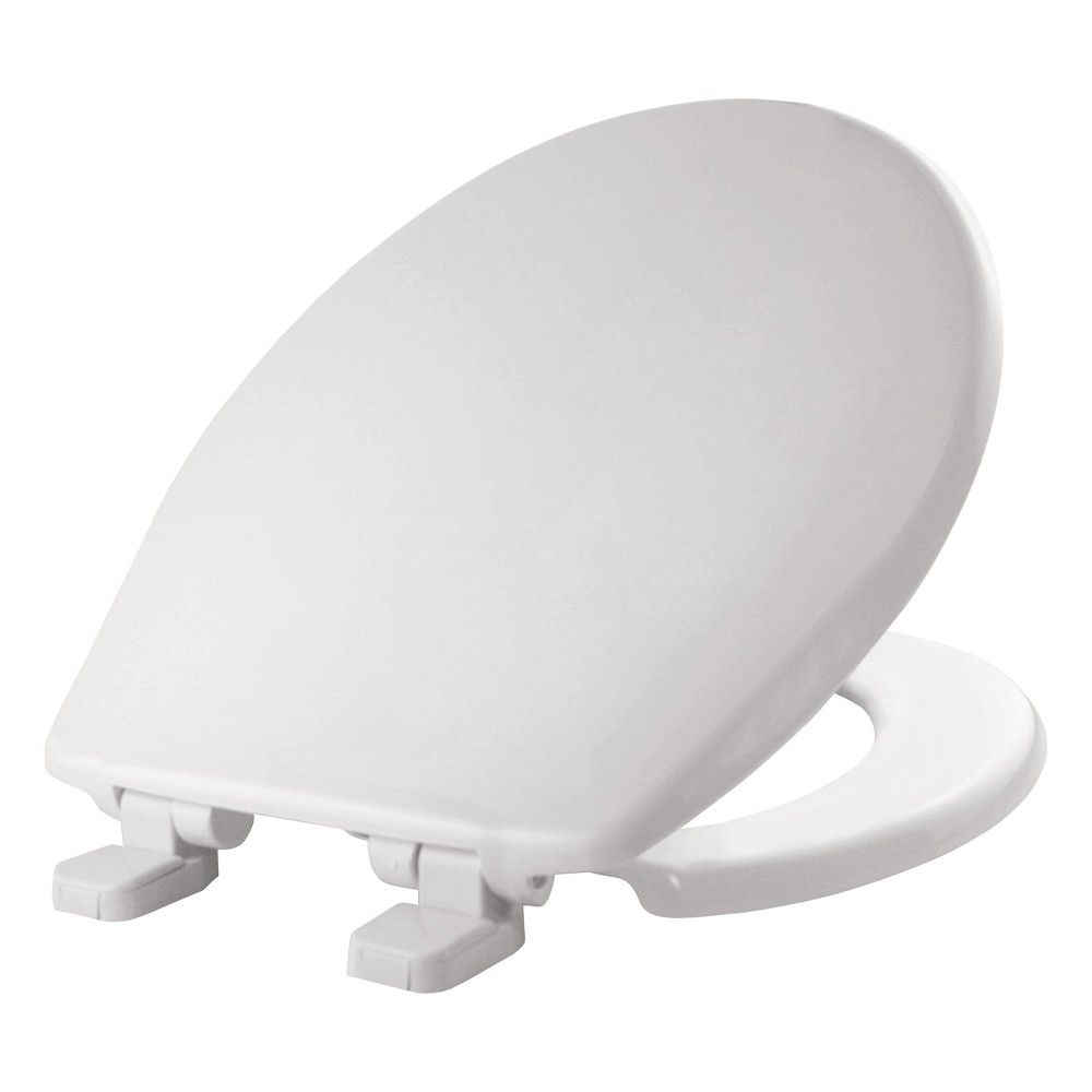 Image of Round Plastic Toilet Seat with Whisper Close Hinge White - Mayfair