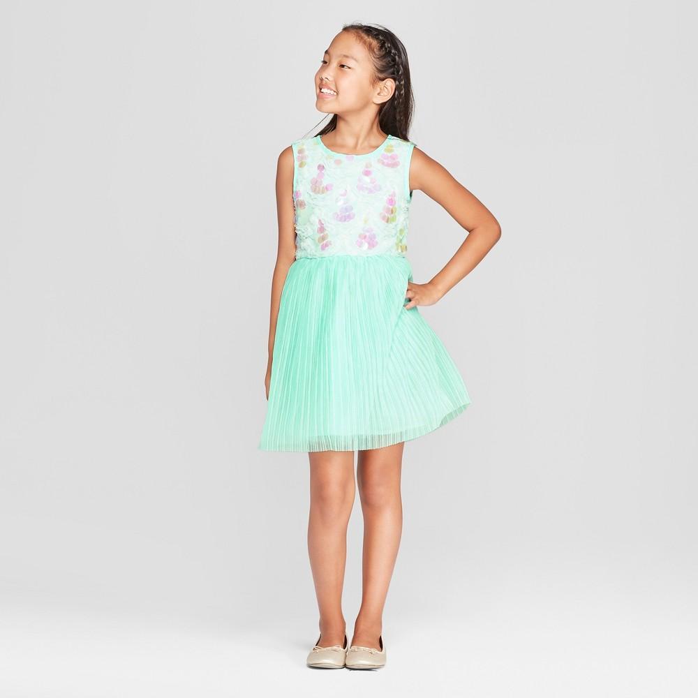 Girls' Disney Princess Ariel Iridescent Dress - Aqua Blue S, Green