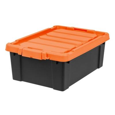Iris Tote Black With Orange Lid Target, Orange Plastic Storage Totes