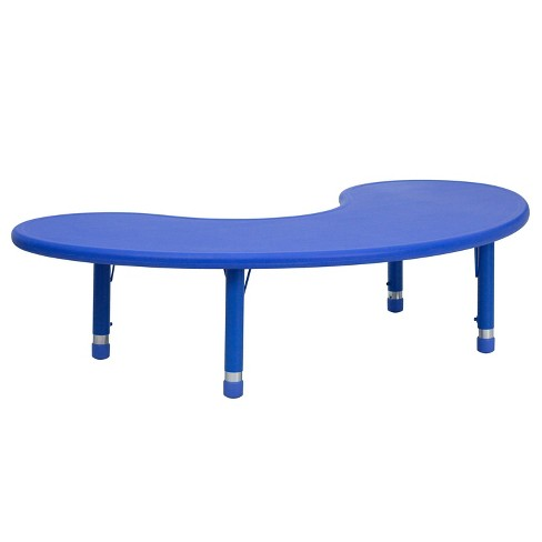 Flash Furniture Half Moon Shaped Activity Table Blue - Belnick - image 1 of 4