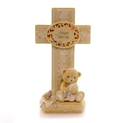 Foundations Jesus Loves Me Cross Angel Teddy Bear  -  Decorative Figurines