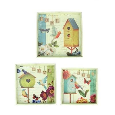 "Northlight Set of 3 Birdhouse Garden Theme Square Wooden Serving Trays 16"" - Green/Blue"
