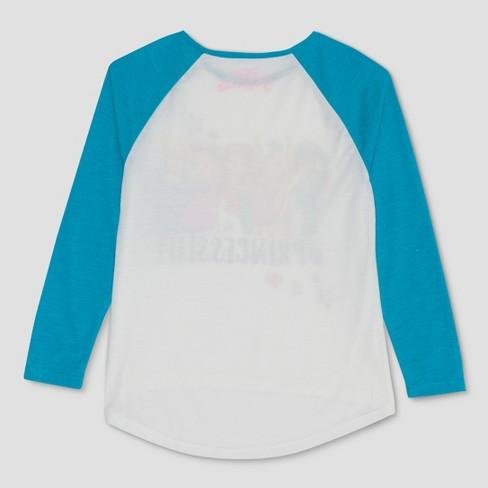 Girls  Disney Princess Long Sleeve Raglan T-Shirt - Ivory Blue   Target 0eac0a1cc9a
