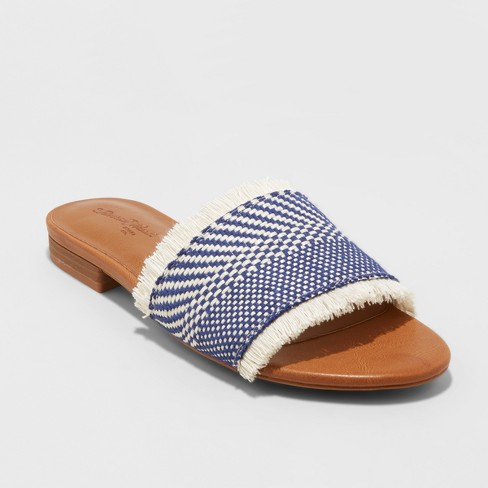 Women's Yvette Woven Slide Sandals - Universal Thread™ Blue - image 1 of 3