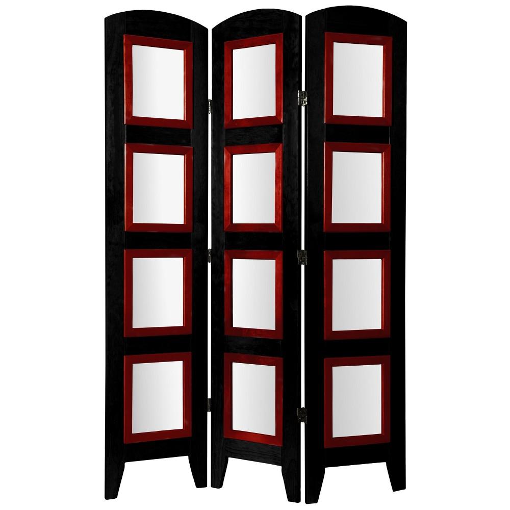 Oriental Furniture 5.5' Tall Photo Shoji Screen 3 Panel Black