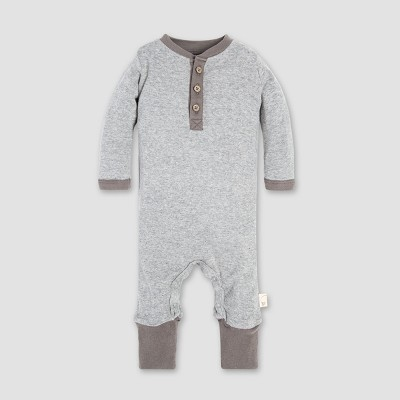 Burt's Bees Baby® Henley Coverall - Heather Gray 3-6M
