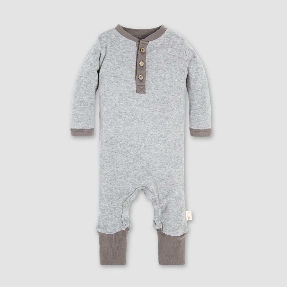 Burt's Bees Baby Henley Coverall - Heather Gray 0-3M, Infant Unisex