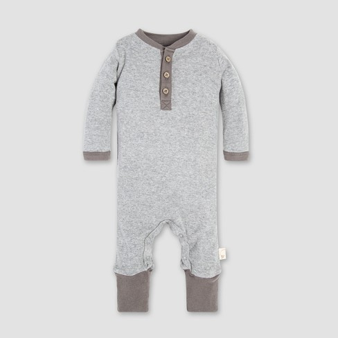 Burt's Bees Baby Baby's Henley Coverall - Heather Gray - image 1 of 2