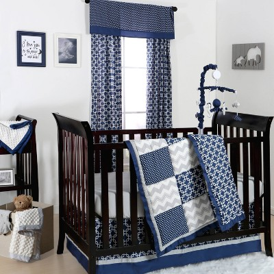 The Peanutshell Geo Patch 3pc Crib Bedding Set in Navy/Gray