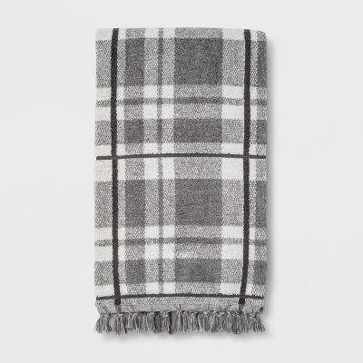 Neutral Plaid with Fringe Bath Towel Classic Gray - Threshold™