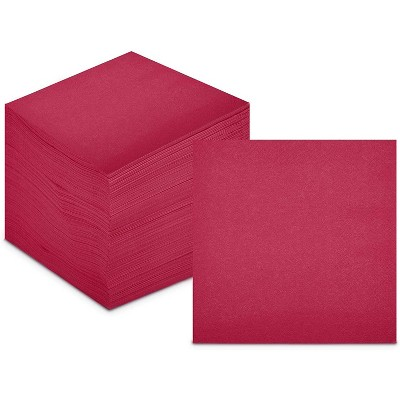 Sparkle and Bash 200 Pack Burgundy Paper Cocktail Napkins for Birthday and Christmas Party Supplies, 5""