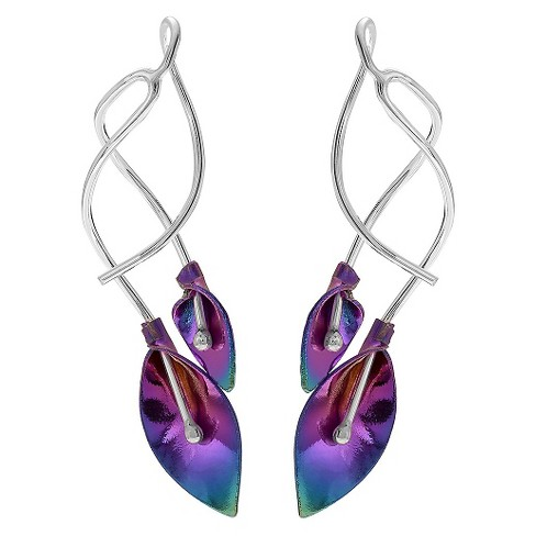 Women's Journee Collection Sterling Silver Niobium Calla Lily Dangle Earrings - Silver - image 1 of 2
