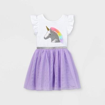 Toddler Girls' Sequin Unicorn Tulle Dress - Cat & Jack™ Purple