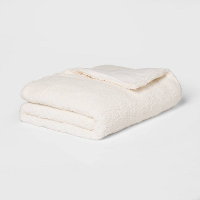 "50"" x 70"" 12lbs Sherpa Weighted Blanket with Removable Cover Ivory - Room Essentials™"