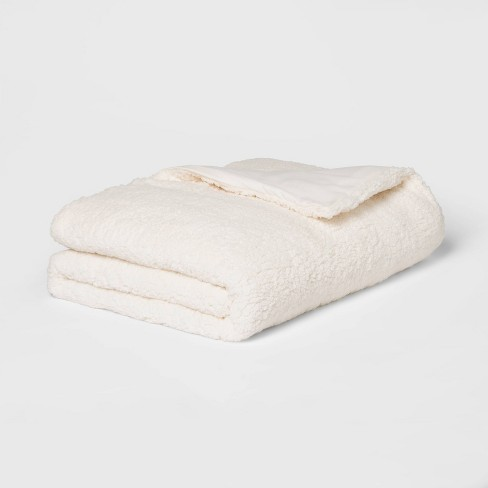 "50"" x 70"" 15lbs Sherpa Weighted Blanket with Removable Cover Ivory - Room Essentials™ - image 1 of 4"