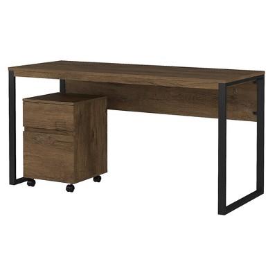 Bush Furniture Writing Desk w/2 Drawer Mobile File Cabinet Rustic Brown Embossed LAT001RB