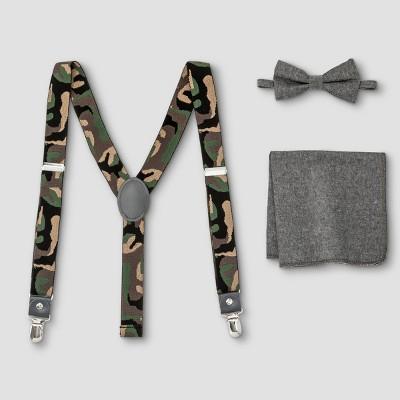 Boys' Camo Suspender, Bowtie & Pocket Square Set - Cat & Jack™ Gray