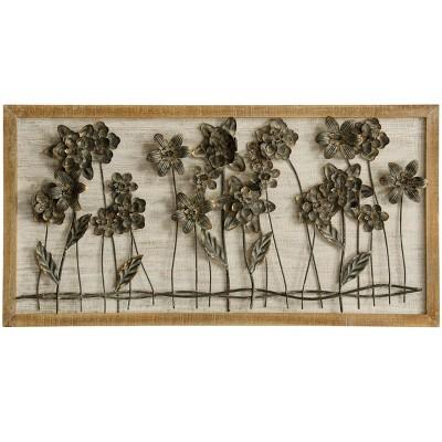 39.4  Flower Bed Row 3 D Decorative Wall Art Brown - StyleCraft