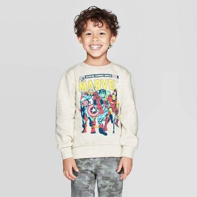 Toddler Boys' Marvel Crew Fleece Sweatshirt - Cream 12M