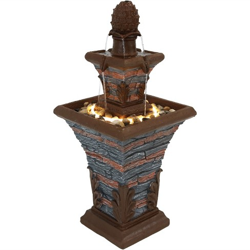 "33""H Polyresin 2-Tier Stacked Stone Look Outdoor Water Fountain with LED Rope Light - Sunnydaze Decor - image 1 of 6"