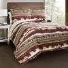 3pc Lodge Quilt Set Red/Brown - Lush Decor - image 2 of 4