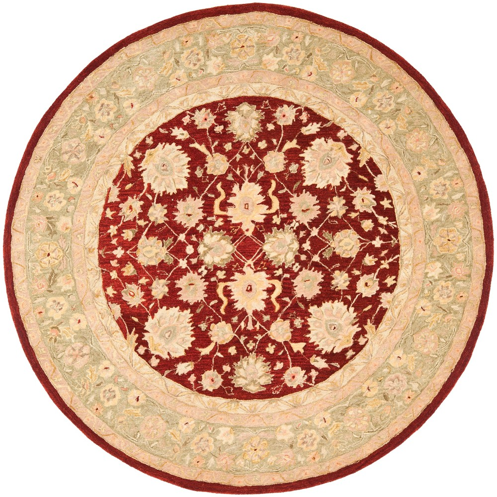 8' Floral Round Area Rug Red/Moss (Red/Green) - Safavieh