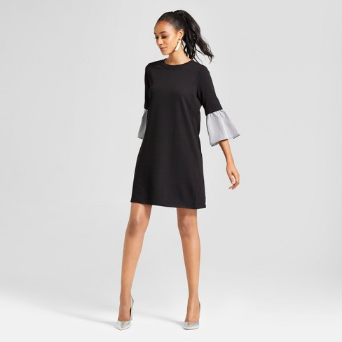 Women's Mixed Media Bell Sleeve Sweatshirt Dress - Lux II - Black - image 1 of 2