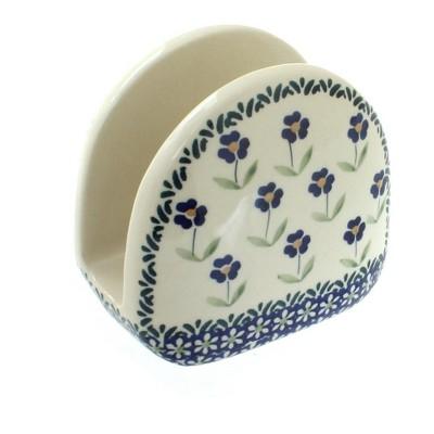 Blue Rose Polish Pottery Blue Daisy Napkin Holder