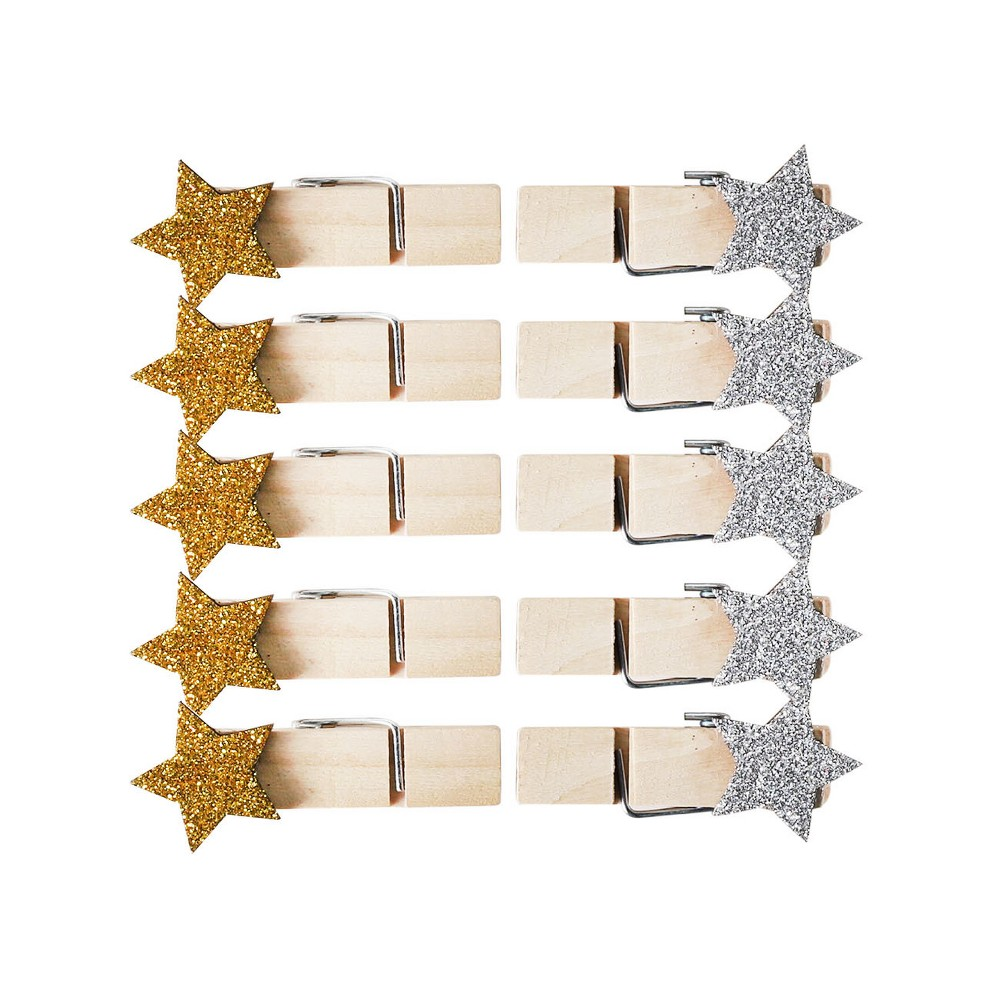 Image of 10ct Mini Metallic Stars Clothes Pins - Spritz