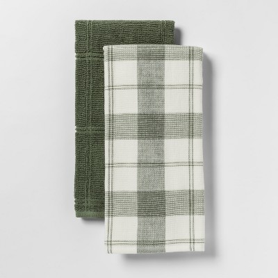 2pk Check With Solid Kitchen Towel Green - Threshold™