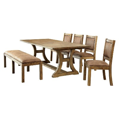 6 Piece Solid Pine Wood Dining Set   Rustic Pine   Furniture Of America