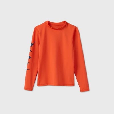 Boys' Long Sleeve Dino Rash Guard Swim Shirt - Cat & Jack™ Orange