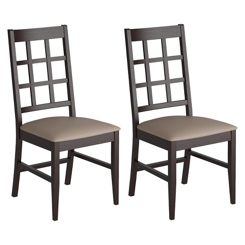 Atwood Dining Chair with Leatherette Seat Wood/Taupe Stone (Set of 2) - CorLiving - image 1 of 4