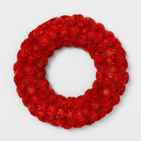 "21.2"" Dried Shola Wood Flower Wreath Red - Smith & Hawken™ - image 1 of 1"