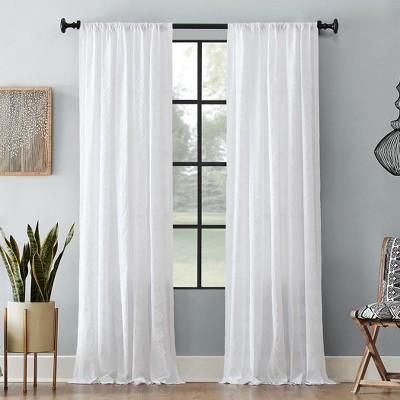 """84""""x50"""" Diamond Fray Cotton Curtain White - Archaeo"""