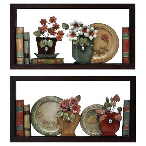 Wall Decor Books Plates On Shelf Home Source Target