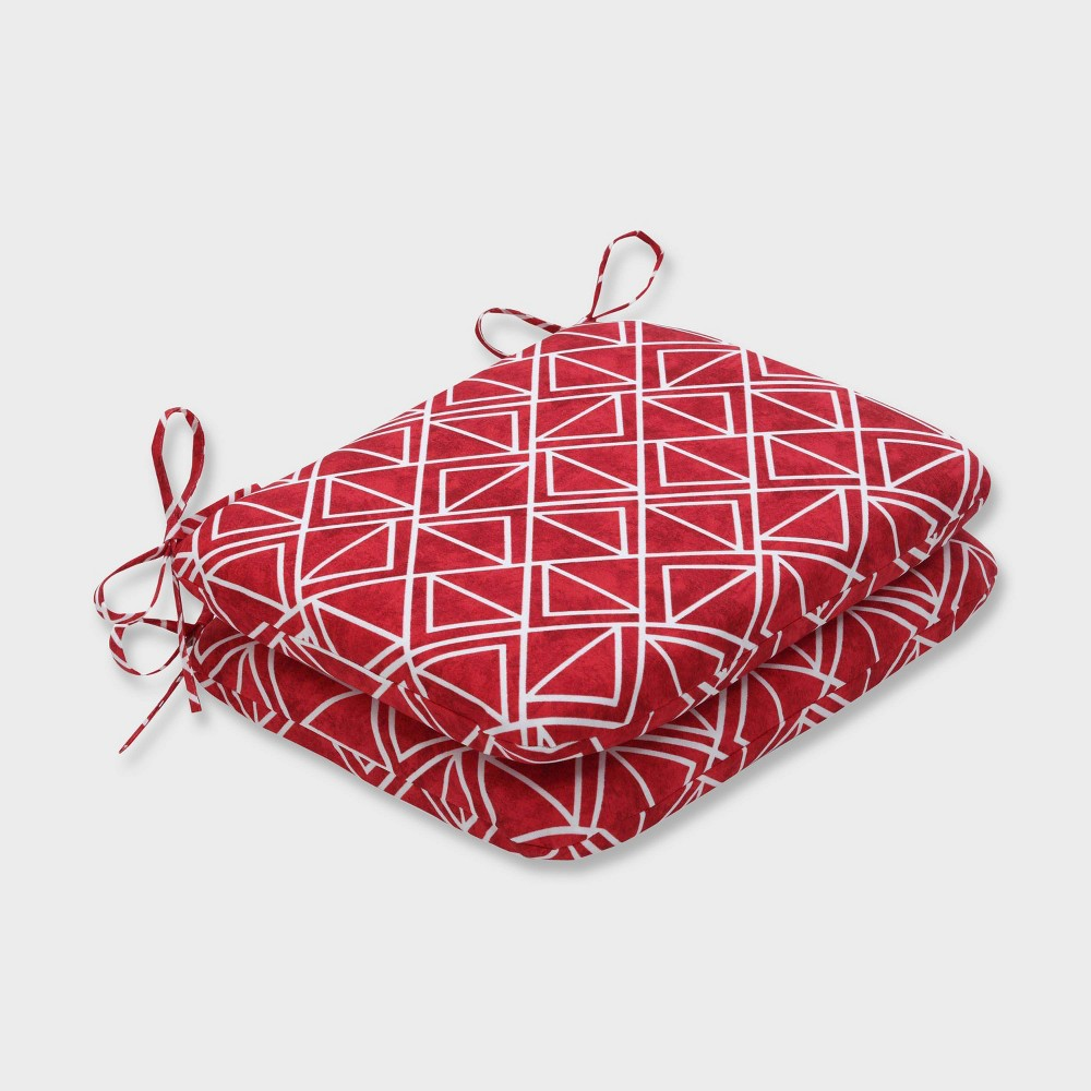 2pk Lanova Apple Rounded Corners Outdoor Seat Cushions Red - Pillow Perfect