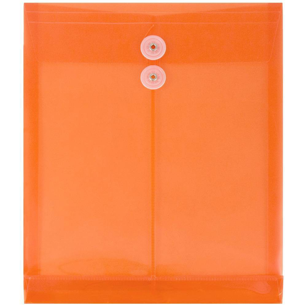 Jam Paper 9 3/4'' x 11 3/4'' 12pk Plastic Envelopes with Button and String Tie Closure, Letter Open End - Orange